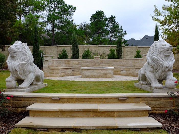 Fire Pit & Lions, Dallas Outdoor Kitchens