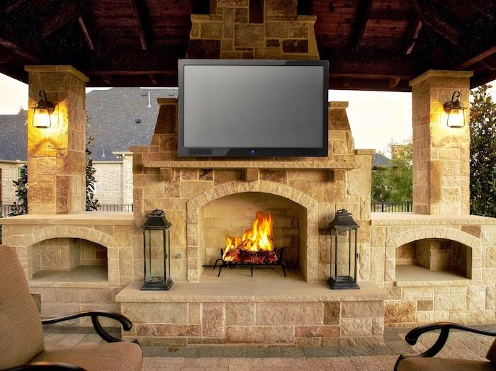 Prosper TX Fireplace with wood bins