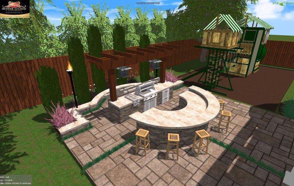 Hardscape landscape design service in dallas tx for Dallas outdoor kitchen designs