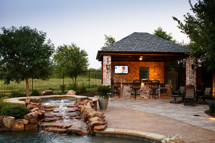 Heath tx outdoor kitchen cabana fireplace dallas for Dallas outdoor kitchens