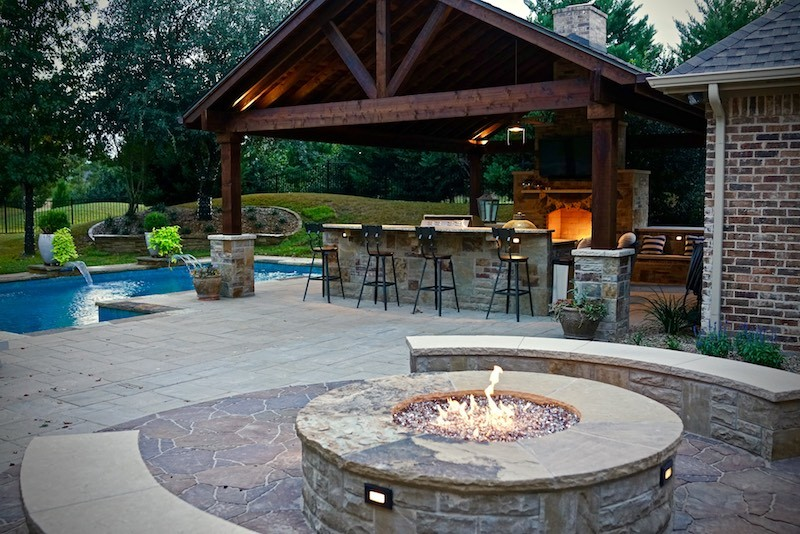 Outdoor Living Project with Fire Pit and Fireplace